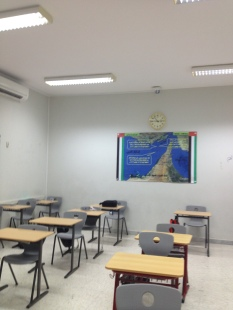 A typical government school classroom.  The map details three islands invaded by Iran in 1971 and still occupied to this day.  These islands were a central part of the government's anti-Iran propaganda.